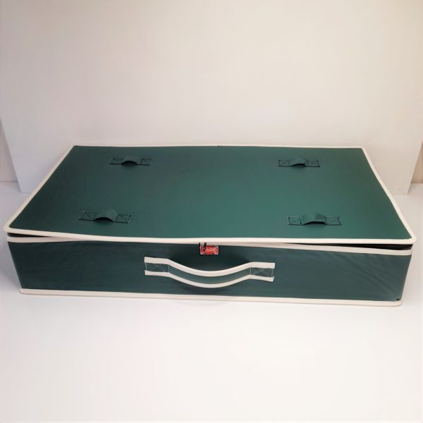 green leather suitcase